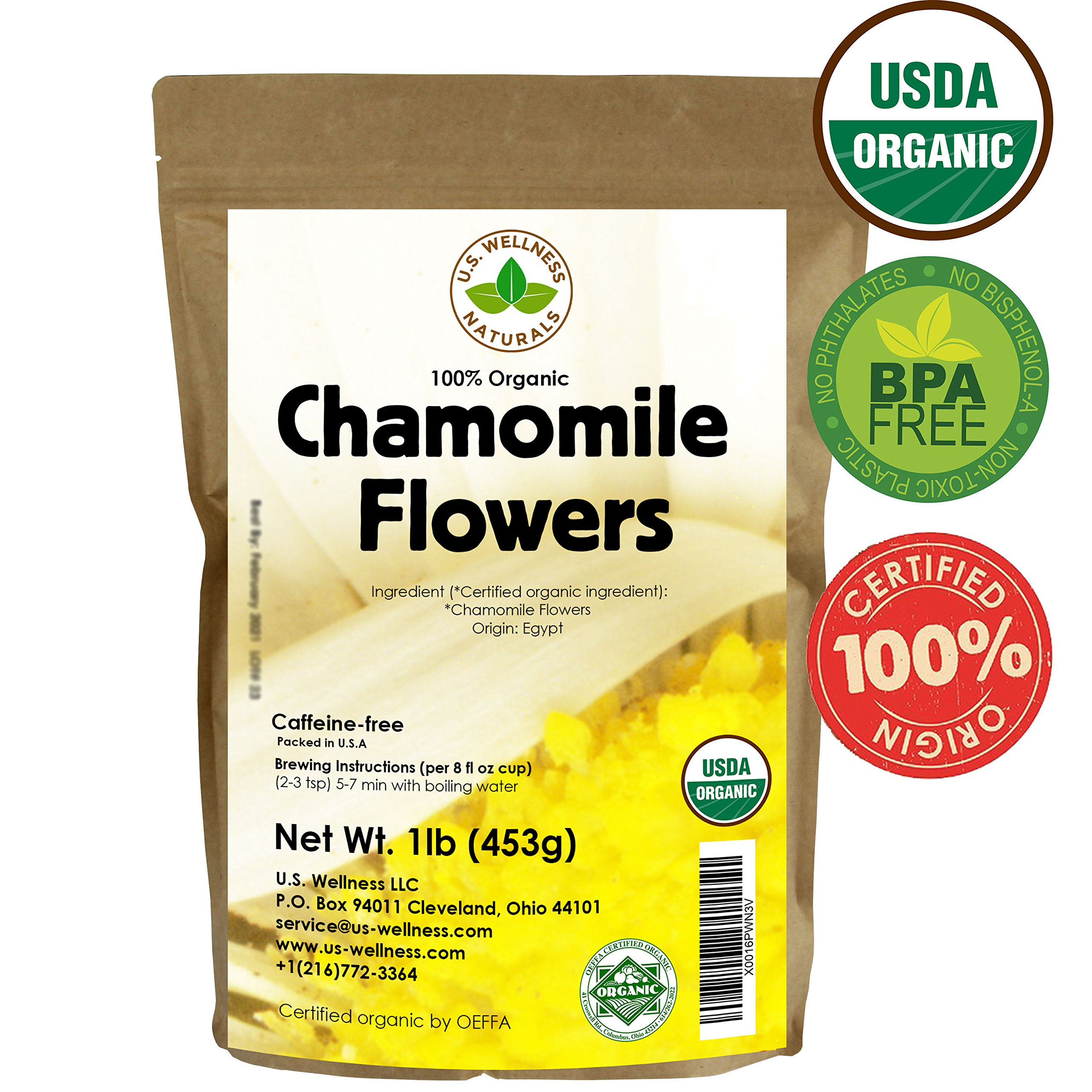 Chamomile Tea 1LB (16Oz) 100% CERTIFIED Organic (USDA seal) Chamomile Flowers Herbal Tea (Matricaria Chamomilla) in 1 lb Bulk Kraft BPA free Resealable Bags from U.S. Wellness