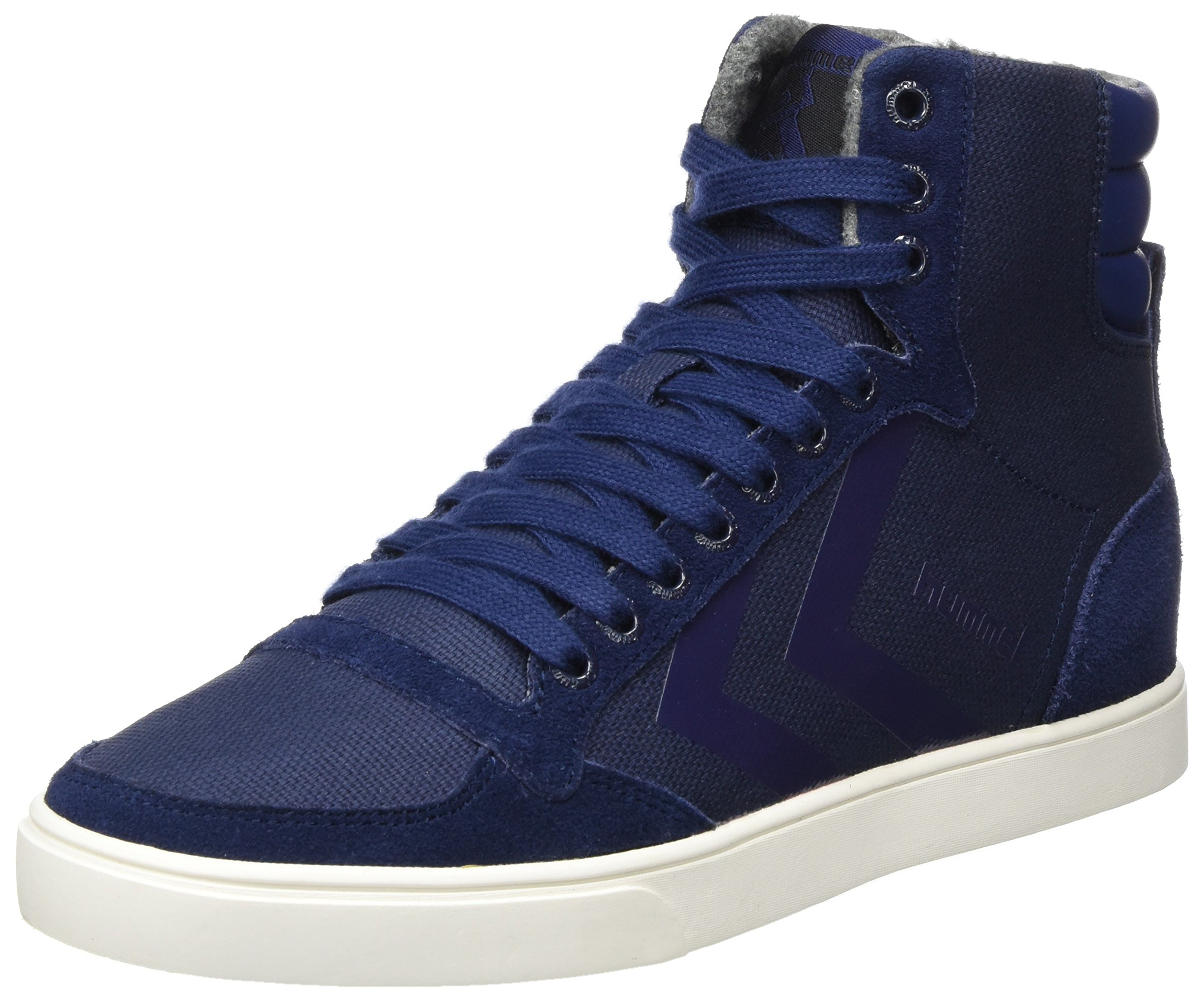 Hummel Unisex Adults' Slimmer Stadil Smooth Canvas Hi-Top Trainers, Blue (Peacoat 7666), 6.5 UK