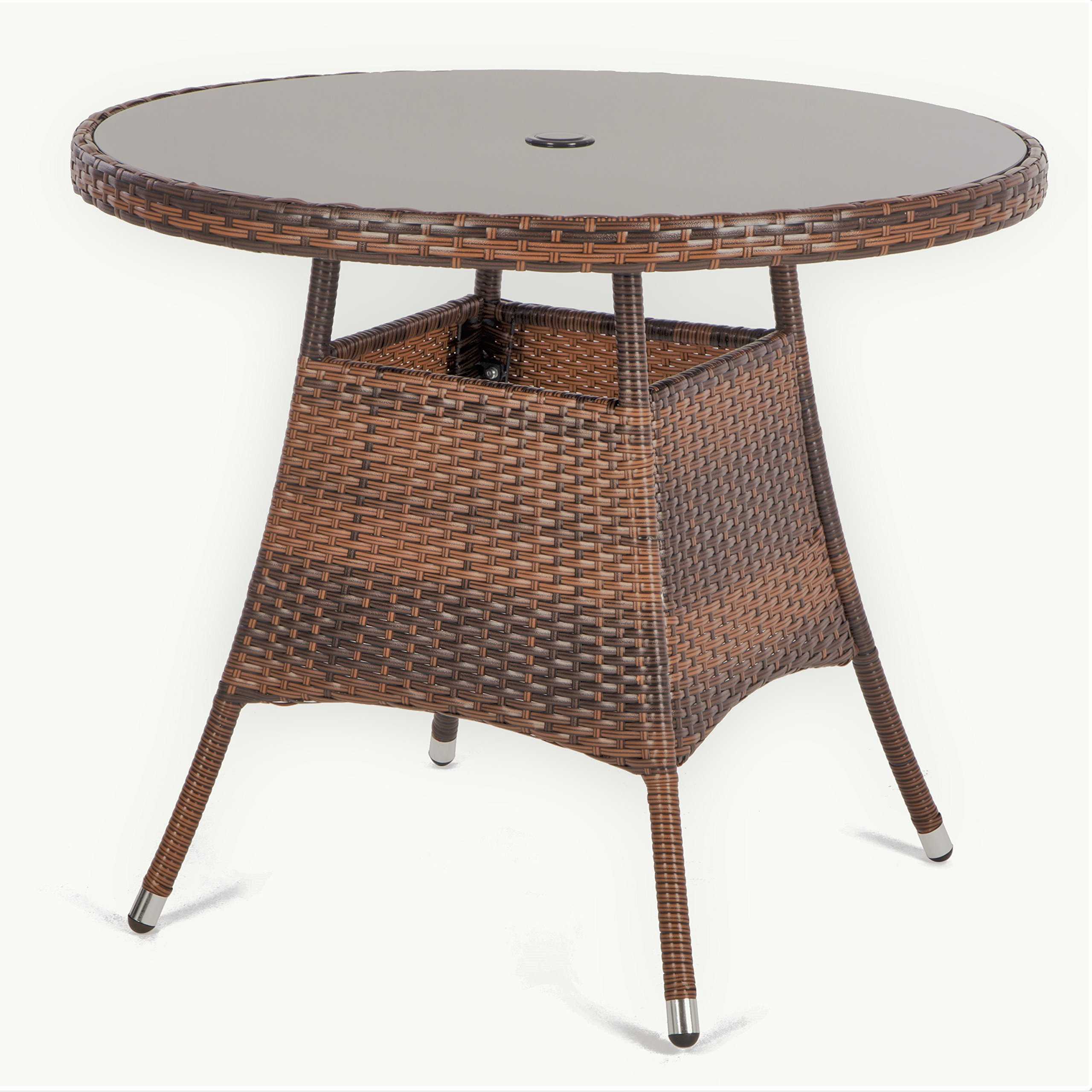 LUCKUP 36'' Patio Outdoor Wicker Rattan Dining Table Tempered Glass Top Umbrella Stand Round Table, Brown