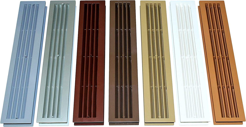 Türlüftung/Badezimmer Lüftung/Lüftungsgitter mit eckigen Kanten, zweiteilig  für Türstärke von 19 bis 19mm, verschiedene Farben
