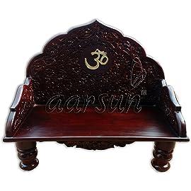Aarsun Woods Sheesham Rosewood Temple Sinhasan (Standard Size, Natural)