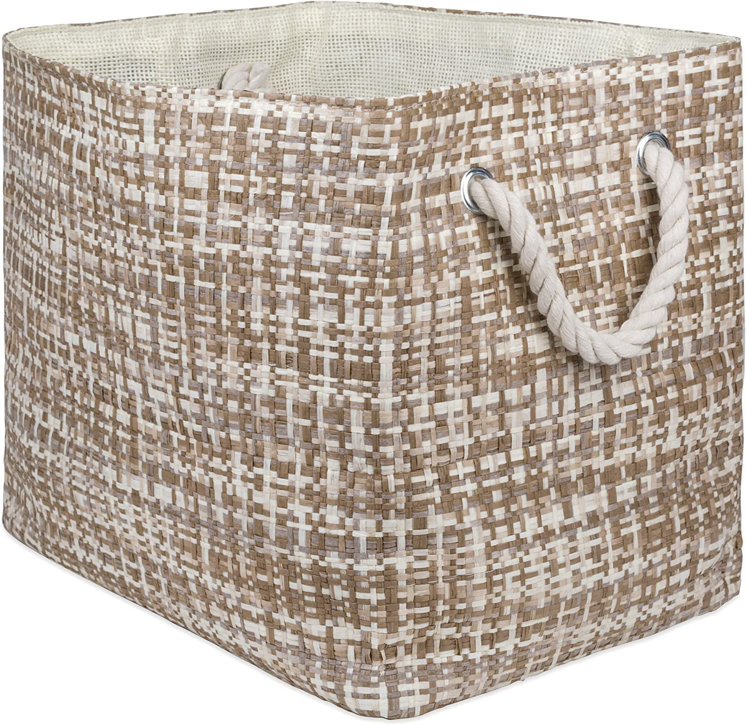 "DII Oversize Woven Paper Storage Basket or Bin, Collapsible & Convenient Home Organization Solution for Office, Bedroom, Closet, Toys, & Laundry (Large - 17x12x12""), Stone Tweed"