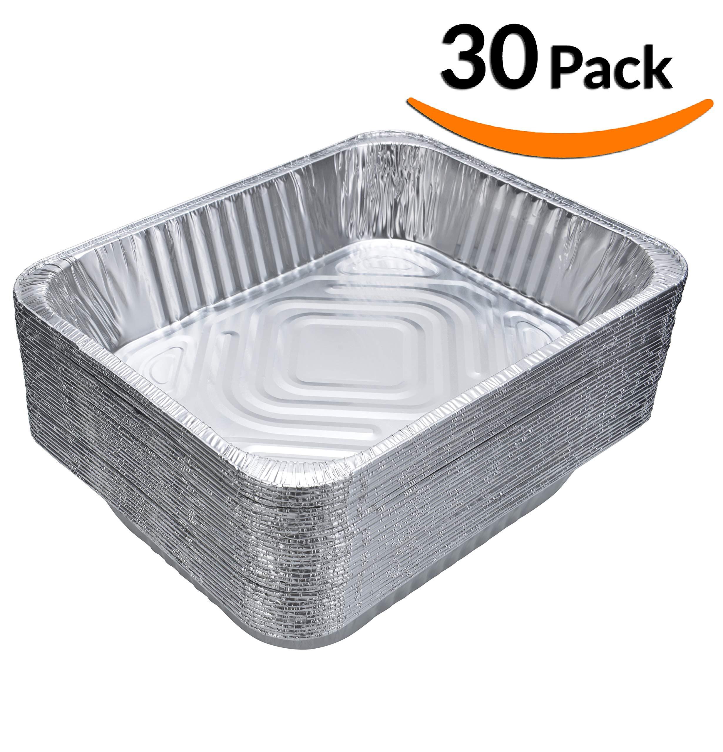 DOBI (30-Pack) Chafing Pans - Disposable Aluminum Foil Steam Table Deep Pans, Half Size - 9'' x 13''