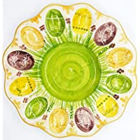 Piatto Portauova Pasquale Ceramica Realizzato e decorato a mano Le Ceramiche del Castello Nina Palomba Made in Italy Dimensioni 28 x 28 x 2 centimetri