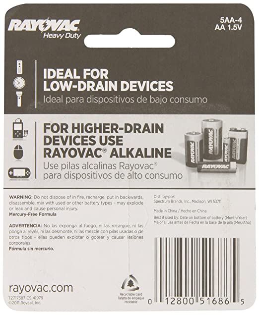 Amazon.com: Rayovac Heavy Duty AA Batteries, 5AA-4D, 4-Pack: Home Audio & Theater