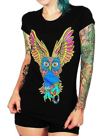 fbe13b1e6de86 Amazon.com: SFYNX 'Plur Owl' Women's Rave T Shirt - Glow in Dark EDM ...
