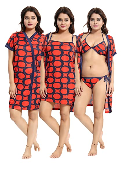 371cc820e Inner Beats Women's 4 Piece Nighty, Robe/Short Nighty/Bra/Panty, Serena  Satin, Free Size-PSN052: Amazon.in: Clothing & Accessories