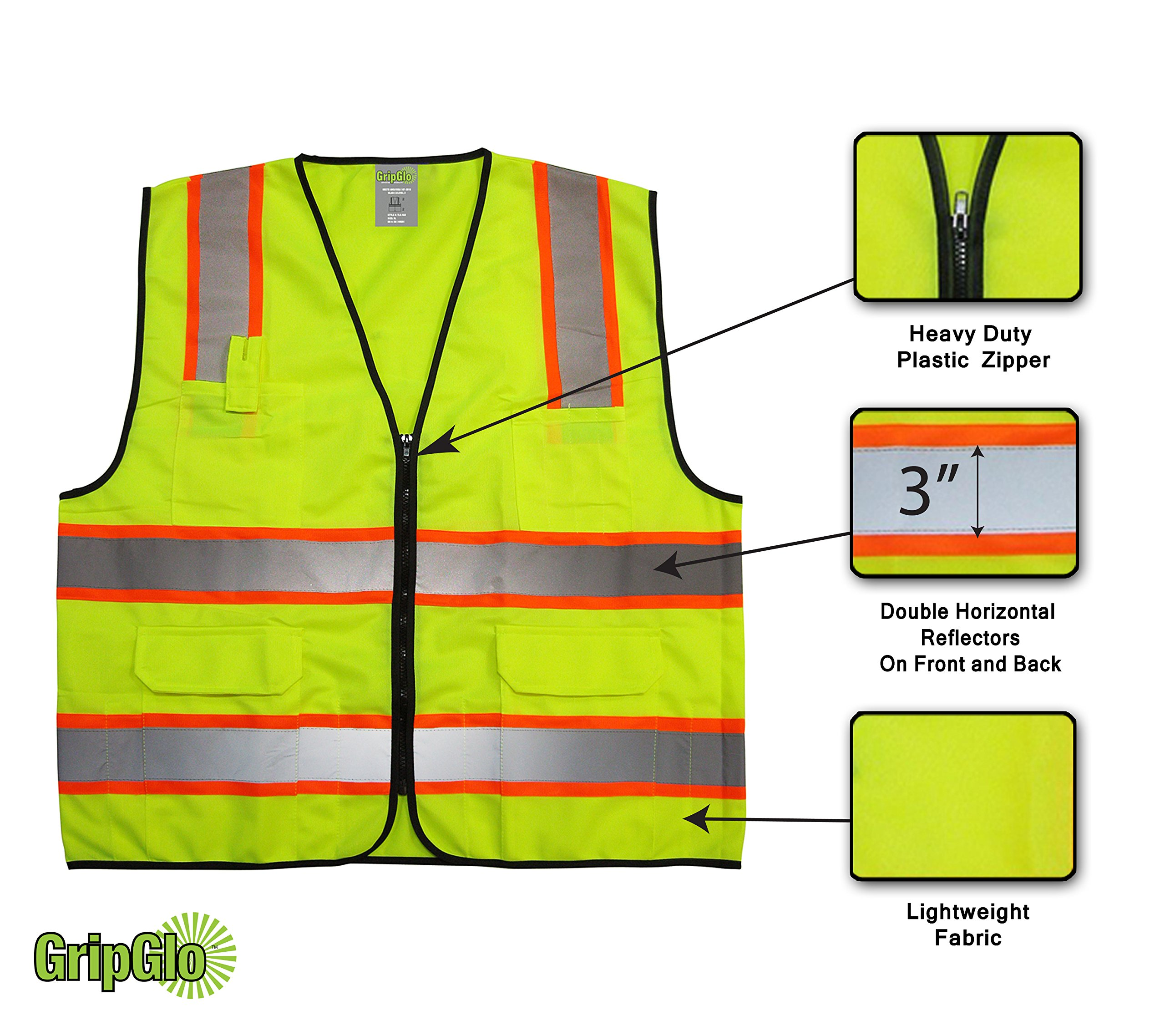 GripGlo TLS-432 Amazing High Visibility Reflective Safety Vest With 6 Multi-Functional Pockets Neon Lime Zipper Front, 2'' Reflective Strips With ORANGE TRIM For MAXIMUM VISIBILITY - Meets ANSI/ISEA 107-2010 - Class 2/Level 2 - Large by GripGlo™ (Image #2)