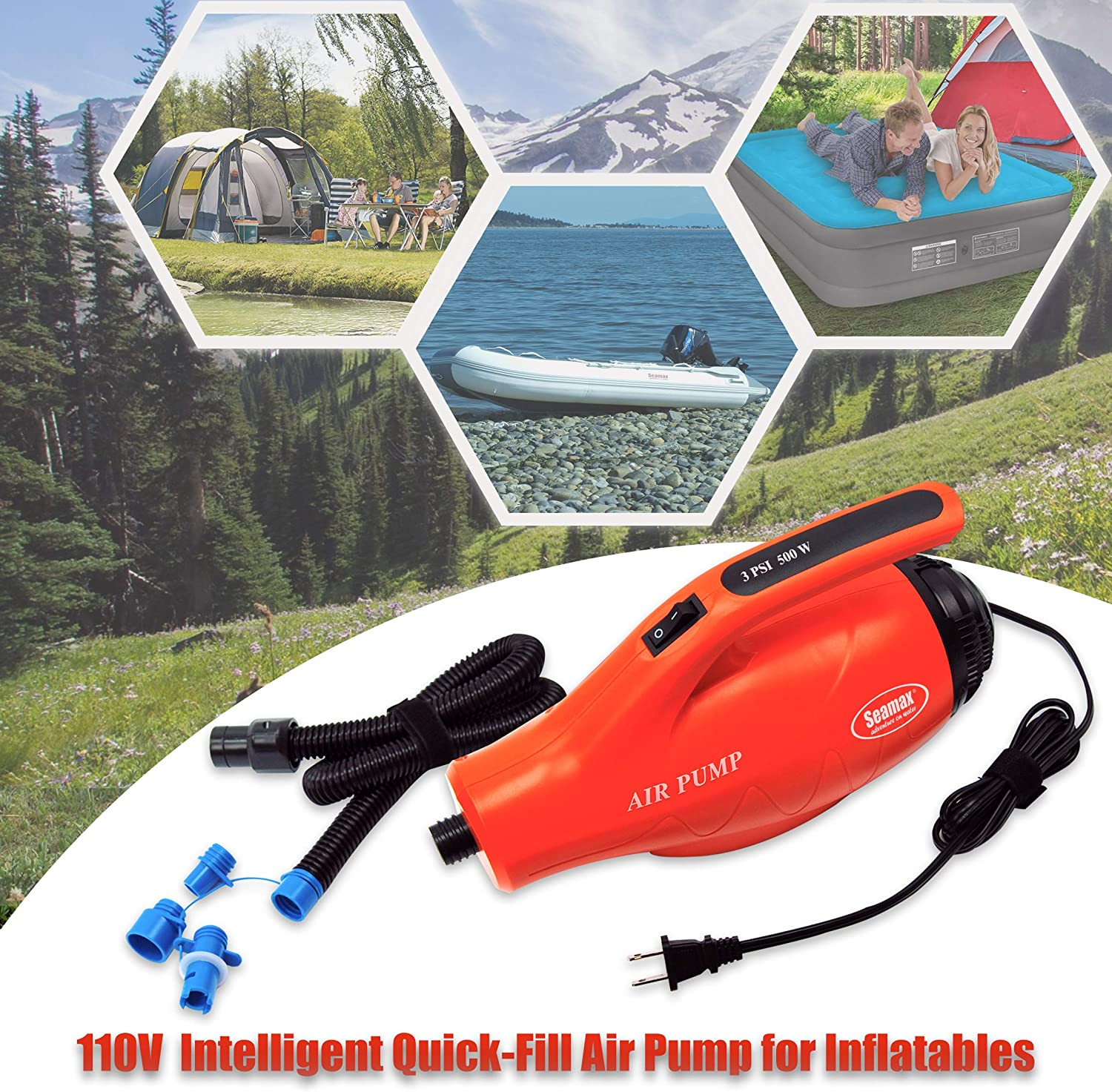 Seamax High Speed 120V AC Turbo Electric Air Pump for Inflatable Tent & Boat Max 3 PSI