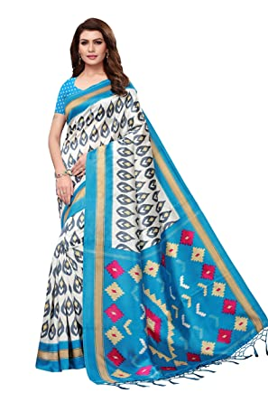fd1b7a5c03 Jaanvi fashion Women's Art Silk Shibori Printed Saree with Tassels(diya-blue -2166