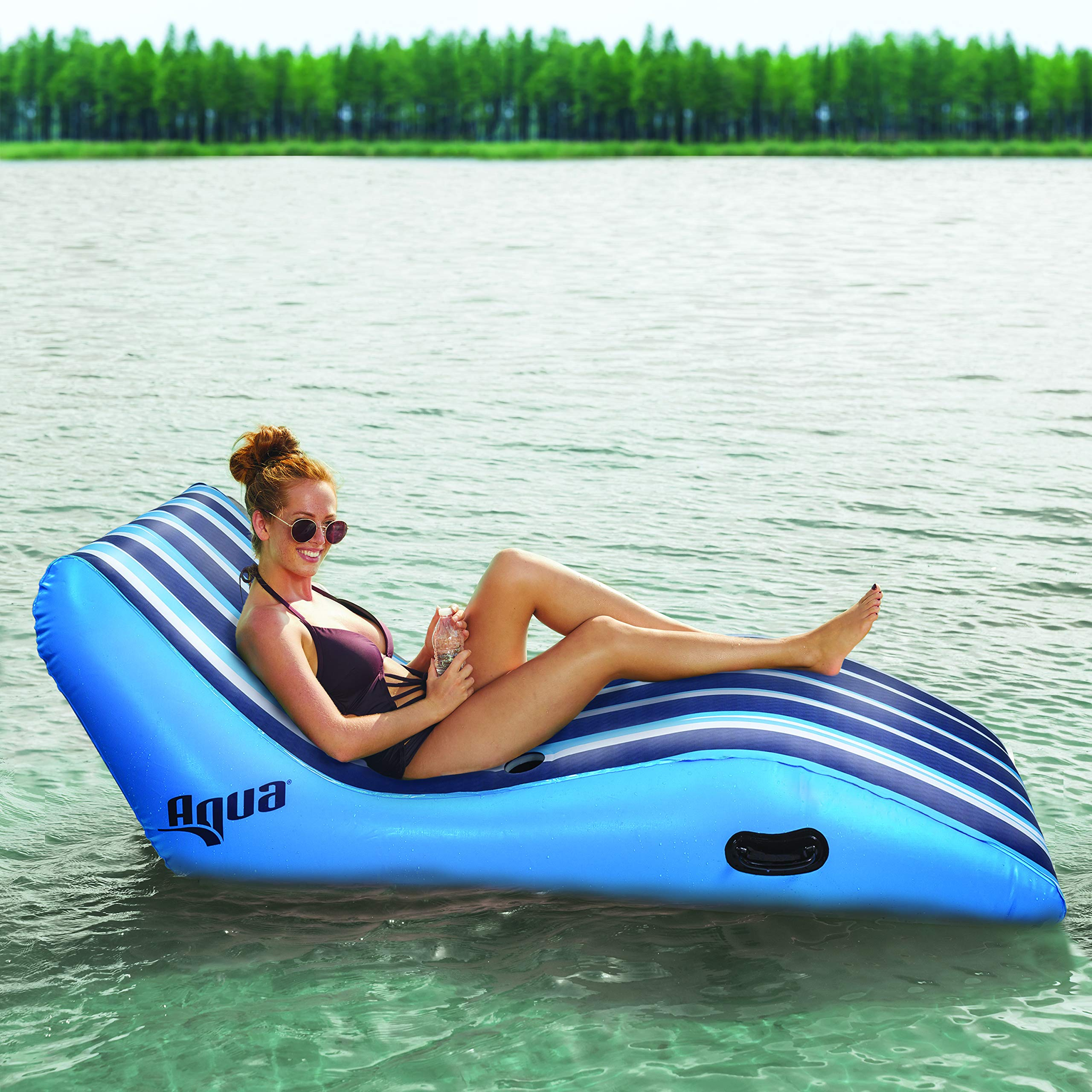 Aqua Ultra Comfort Recliner Lounge, One 1-Person, Heavy Duty, X-Large, Lounge Pool Float, Navy/White Stripe by Aqua (Image #5)