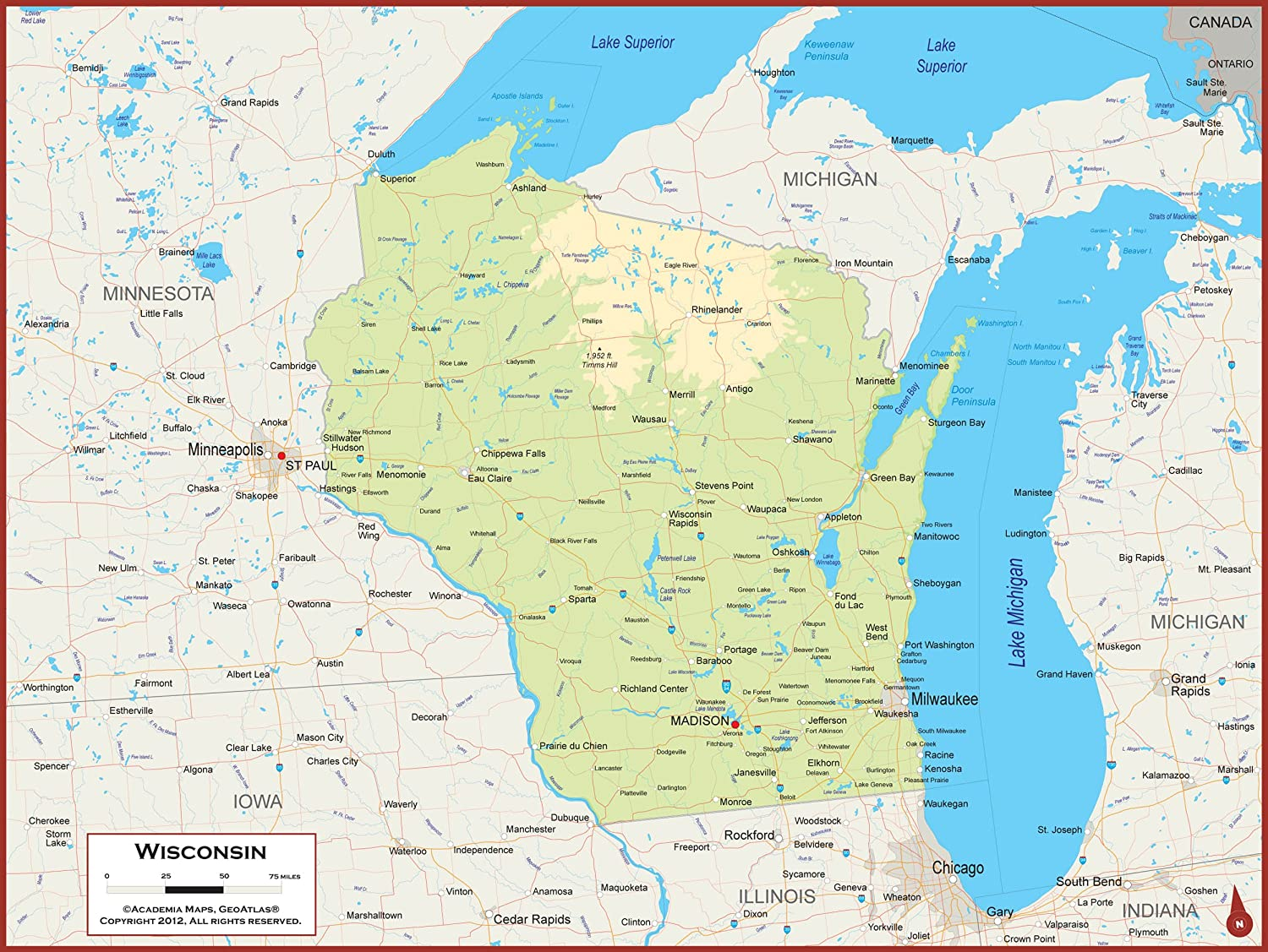 Amazon Com 54 X 41 Large Wisconsin State Wall Map Poster With