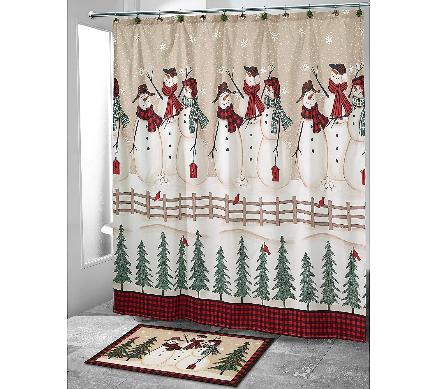 Amazoncom Avanti Snowmen Gathering Shower Curtain Home Kitchen