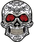 Parche Calavera Rosa Cráneo Biker - 24,5 cm x 19,3 cm XL Tamaño Grande - Parche para Ropa Parches Bordados Parche Termoadhesivo Aplicación Apliques Mochila Bolso Jeans Chaqueta – Treasure-Quest