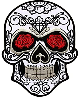 Aufn/äher Embleme B/ügelbild Aufb/ügler Muerto Muerto with rose gold - Totenkopf 24 cm Iron On Patches Patch-Iron-Skull weiss