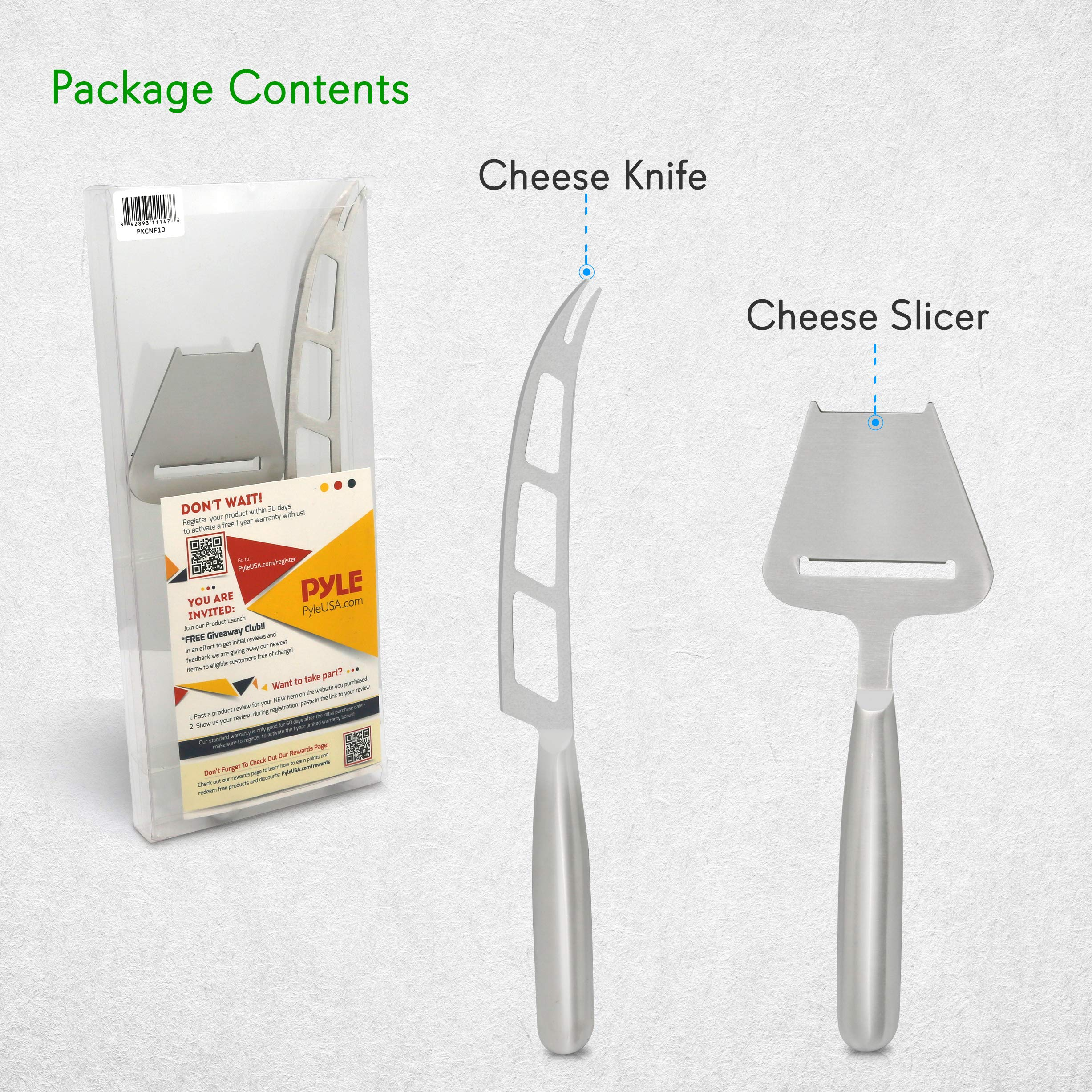 2 Piece Cheese Cutting Set - Portable Fancy Stainless Steel Non Stick Cheese Cutter Knife and Cheese Slicer - Cut, Shave, Slice, Serve, Spread - Gouda Blue Brie Parmesan Cheddar - NutriChef PKCNF10 by Nutrichef (Image #8)