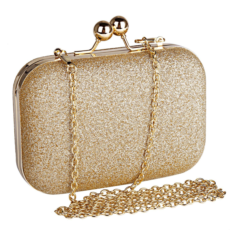 Beautyshow Clutch Glitter, Damen Abendtasche Glitter Clutch Elgegante Handtasche Kette Umhängetasche für Braut Hochzeit Party Abschlussball DLSB0001