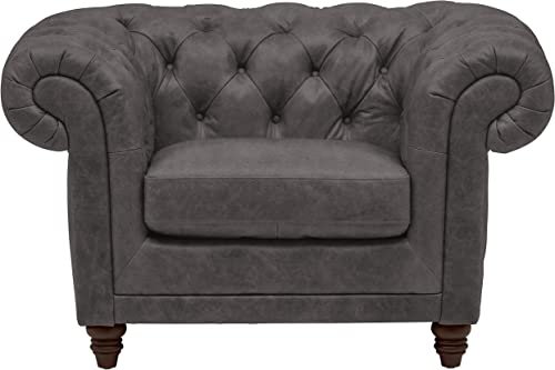 Cheap Amazon Brand Stone Beam Bradbury Chesterfield Tufted Leather Accent Chair living room chair for sale
