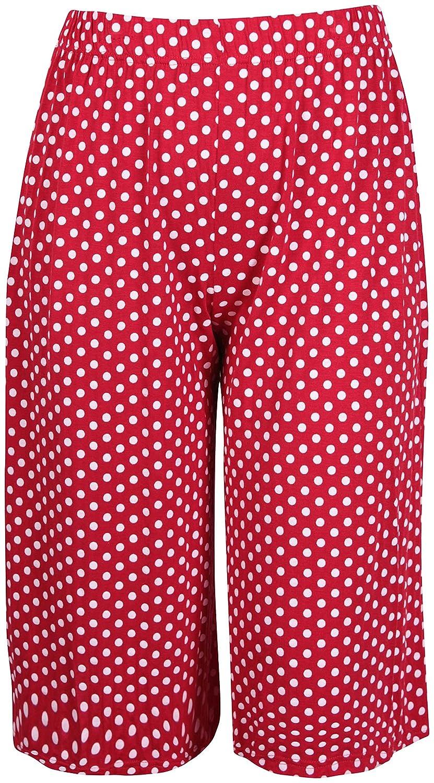 Femmes Grande Taille Floral Pois Imprim/é Paisley Femme Extensible Taille /Élastique Jambe Large Culottes Short