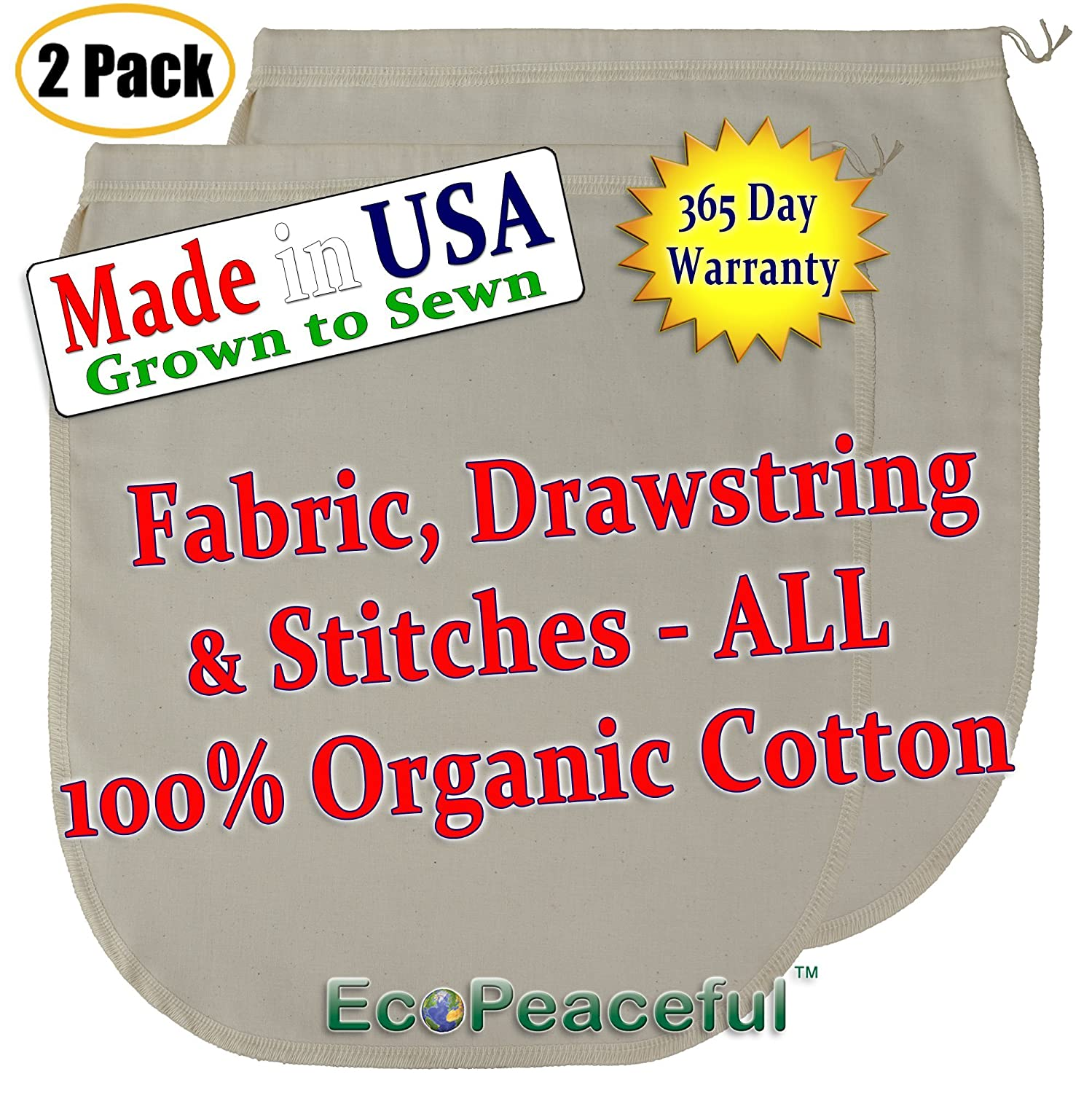 "(2 pack) USA Organic Cotton, Nut Milk Bag. (Read our: Fake ""Organic"" Warning!) Truly 100% Organic Cotton, Sewn w/ 100% Organic Cotton Threads. (2, 12x13)"
