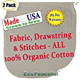 (2 pack) USA Organic Cotton Nut Milk Bag. Truly 100% Organic (Read our Fake Organic Warning). Sewn w/Organic Cotton Threads. (2, 12x12)