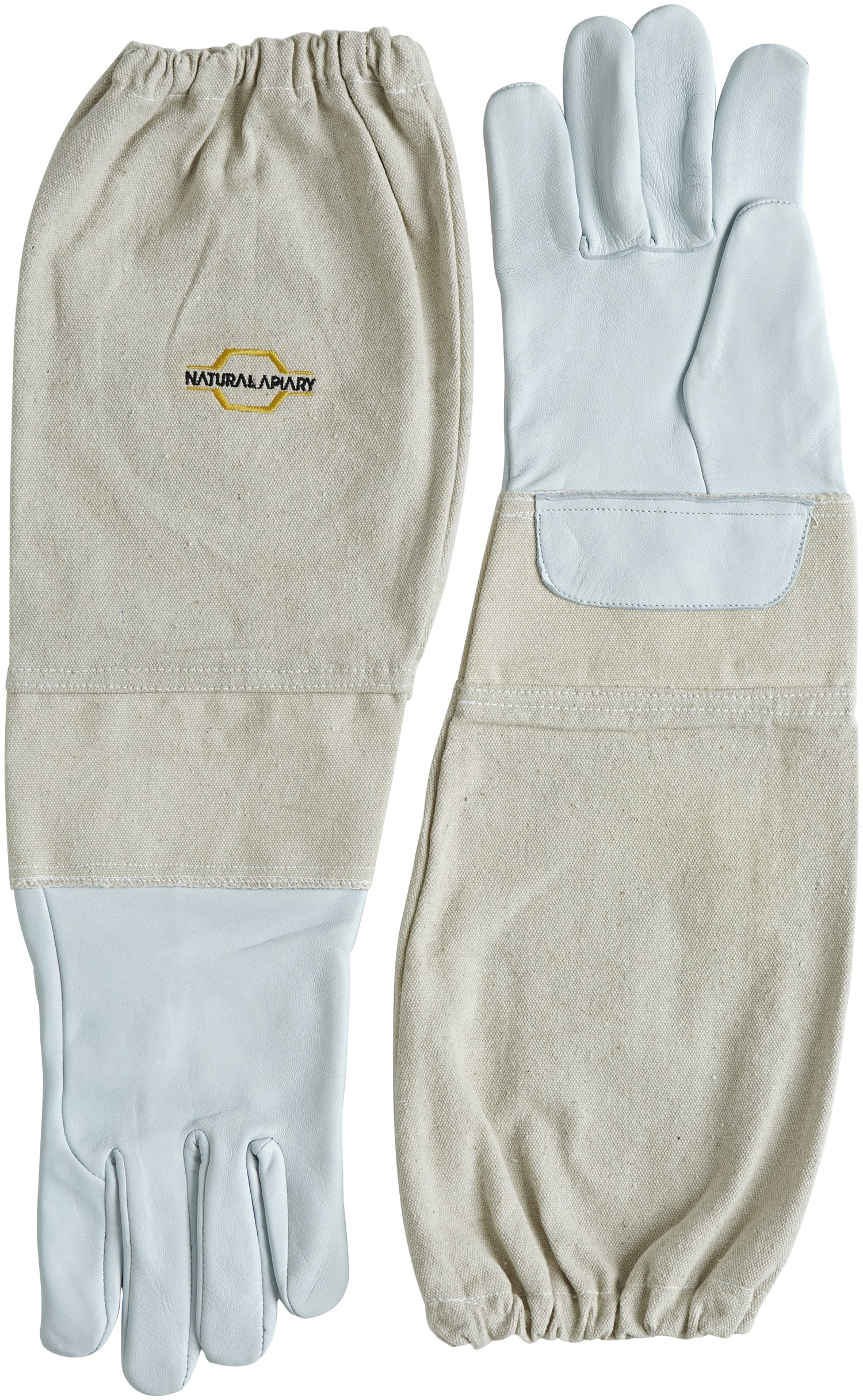 Natural Apiary Goatskin - Beekeeping Gloves - Sting Proof Cuffs - Extra Long Extra Long Twill Elasticated Gauntlets - X Large