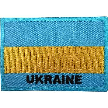 Ucrania bandera parche de hierro sobre/para coser en insignia bordada de Ucrania diseño de bordado: Amazon.es: Hogar
