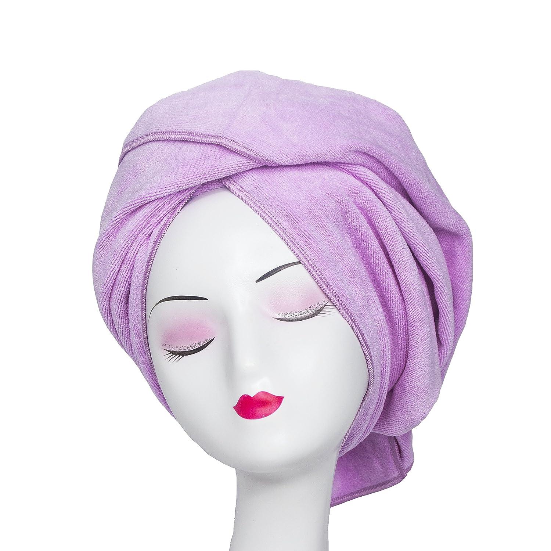 Microfiber Hair Towel Tancano Anti Frizz Hair Wrap Super Absorbent Curly Hair Drying Towel 23.6''x47'' Large Multifunction Towel for Bath Spa Makeup, Light Purple