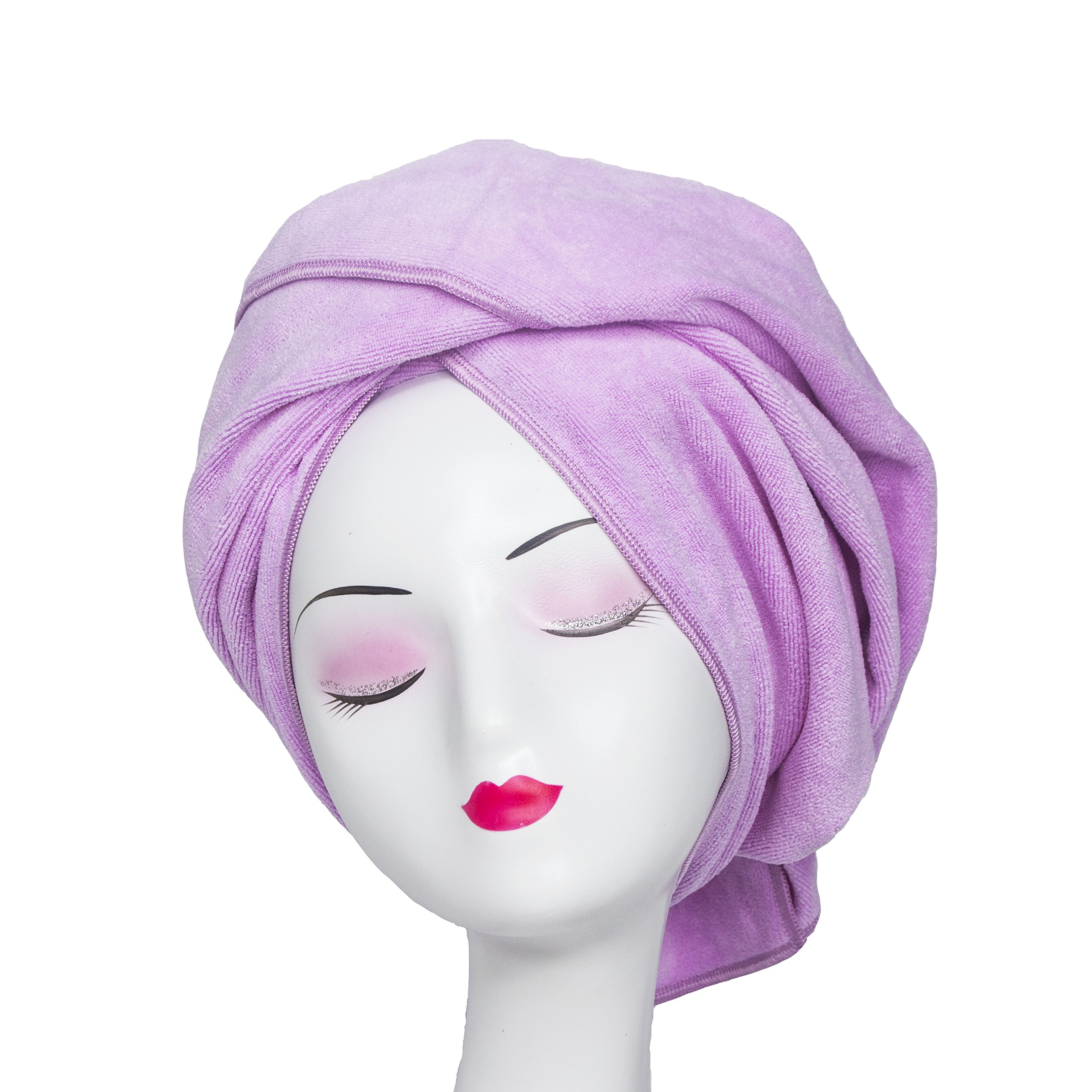 Microfiber Hair Towel WuJi Anti Frizz Hair Wrap Super Absorbent Curly Hair Drying Towel 23.6''x47'' Large Multifunction Towel for Bath Spa Makeup, Light Purple