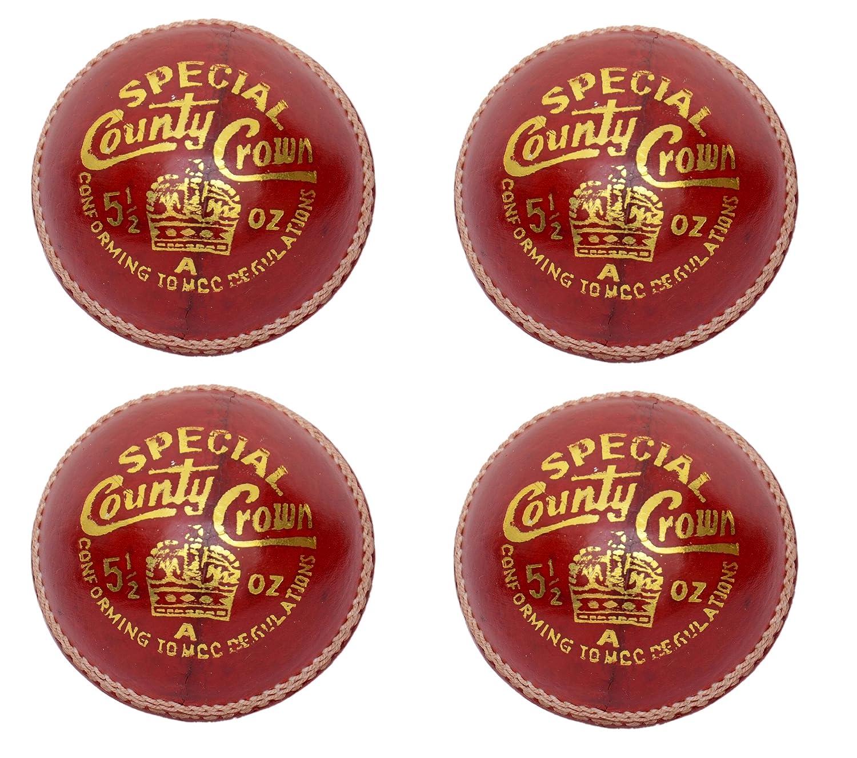 CW Pack 4Stück Special County Krone rot Leder, 4CUT Stück Cricket Ball komplett Hand genäht 5.5oz 25über ideal für Club & Praktiken MCC Verordnung zugelassen Cricket World