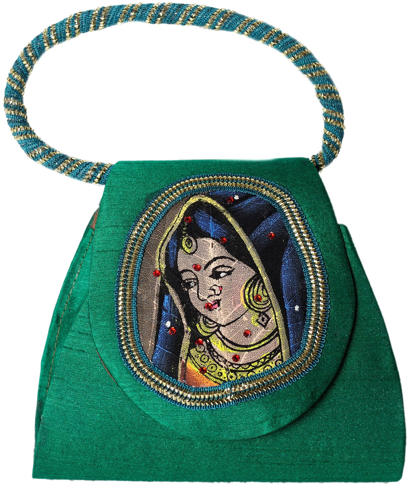 Exotic India Bracelet Bag with Beadwork and Painted Lady Figure on Fig Leaf - Color GreenColor One Size fits most
