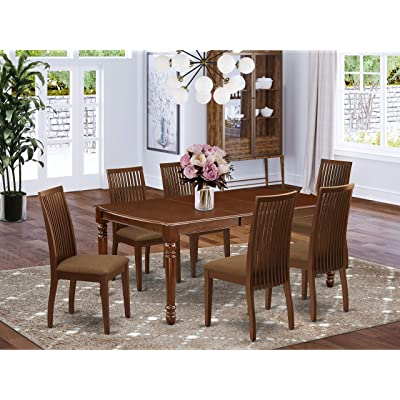 Buy East West Furniture Doip7 Mah C Kitchen Dining 7 Piece Set A Brilliant Kitchen Cushion Seat And Mahogany Dinner Table Online In Indonesia B07yt6vtp4