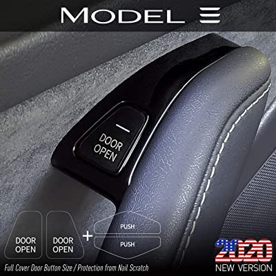 2020 New Version Tesla Model 3 & Model Y 'Door Open' Button & Center Console 'Push' Full Cover Clear Label Stickers (Pack of 8) Protection Film for Nail Scratch: Office Products