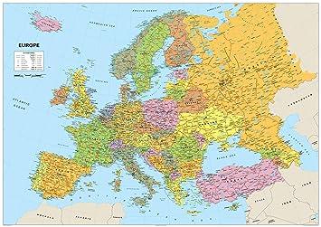 Carte De Ieurope.A1 Carte De L Europe Papier Lamine Format A1 59 4 X 84 1 Cm