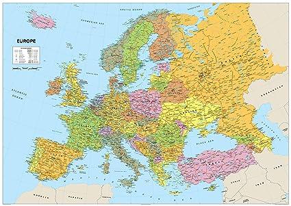 Cartina Europa Colorata.Cartina Dell Europa In Carta Plastificata Misura A1 59 4