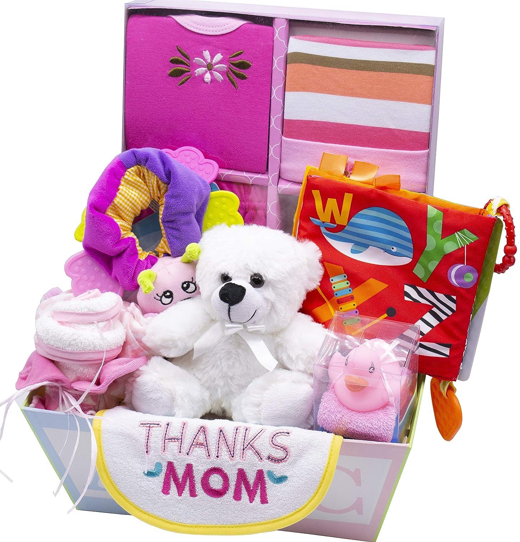 Sweet New Baby Gift Basket – Baby Boy Baby Girl Pink