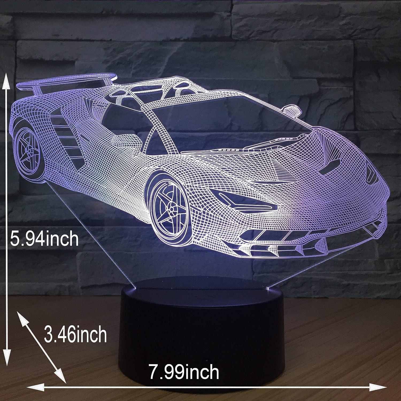 3D Optical Illusion Night Light 7 LED Color Changing Lamp Lamborghini Car
