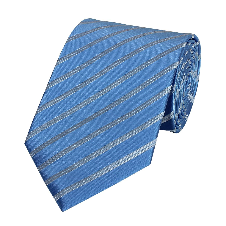 Fabio Farini klassische, himmelblaue 8 cm Krawatte mit grauen Streifen, Anzug-Krawatte für den Abschlussball, Jungesellenabschied 1000275