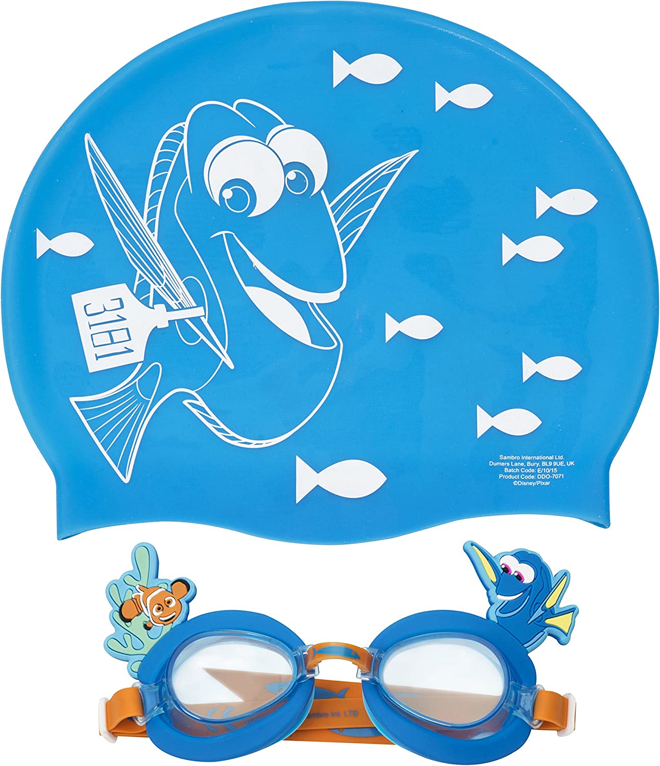 Nemo Blue Pool Swimming Hat And Nemo Dory Goggles By Sambro Finding Dory