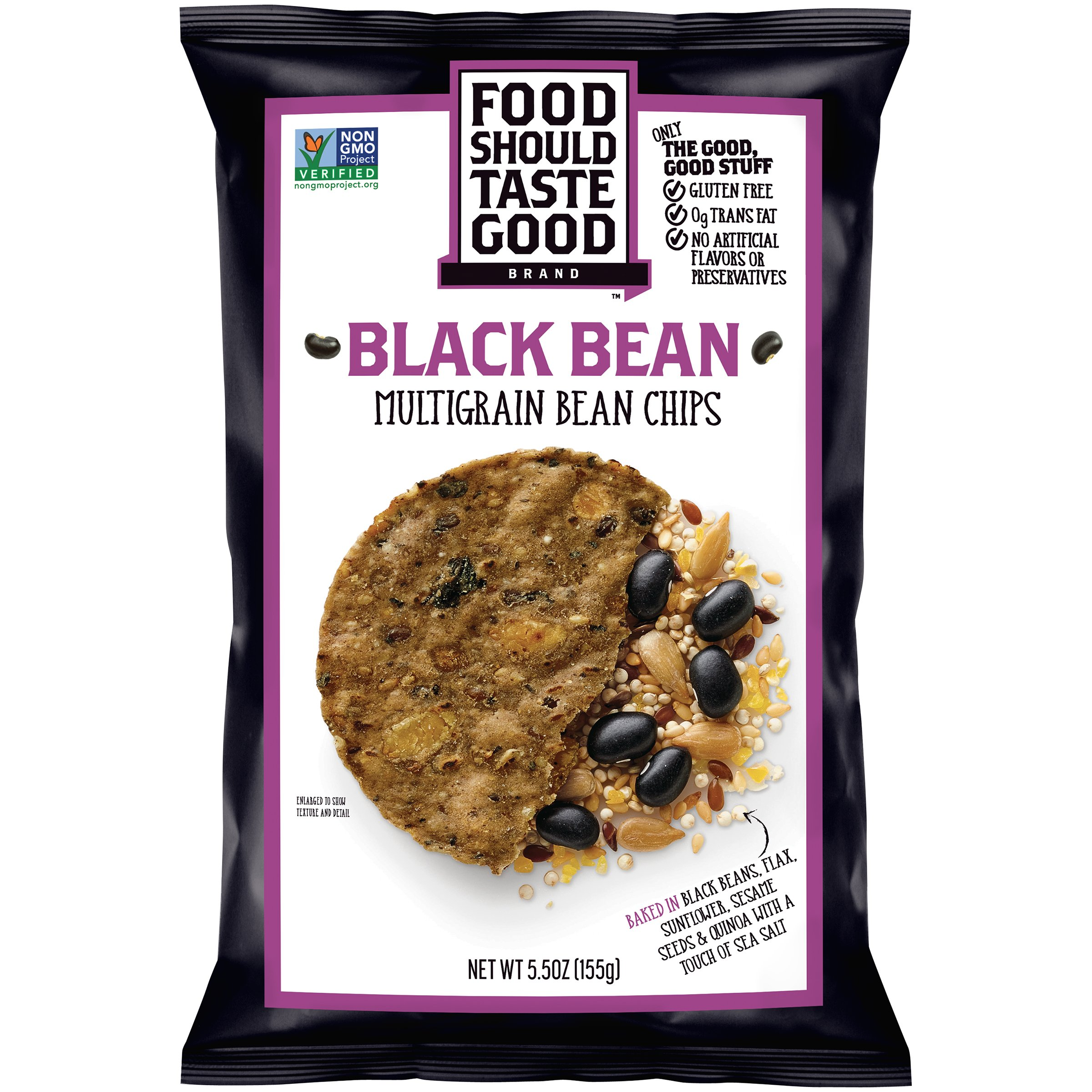Food Should Taste Good Tortilla Chips Gluten Free non-GMO Black Bean Multigrain 5.5 oz Bag