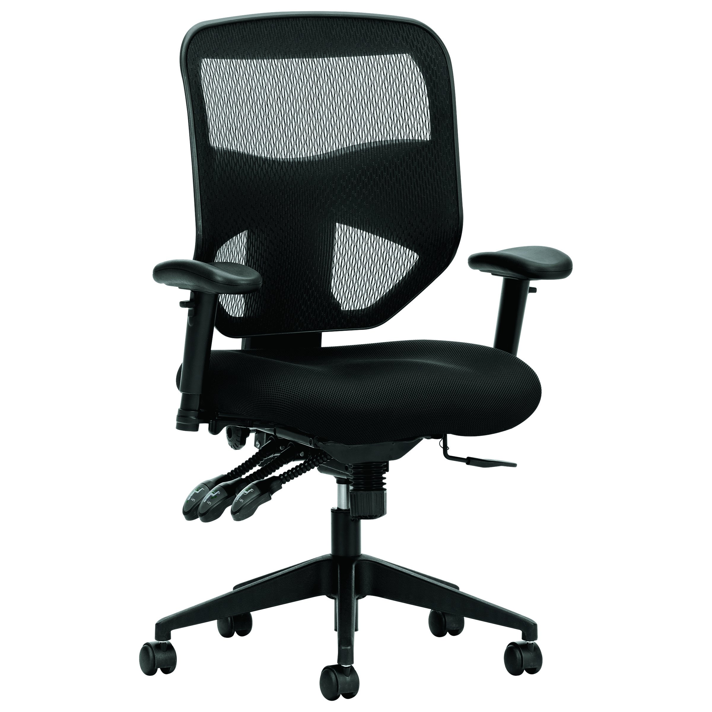 basyx by HON High Back Task Chair - Mesh Computer Chair with Arms for Office Desk, Black (HVL532)