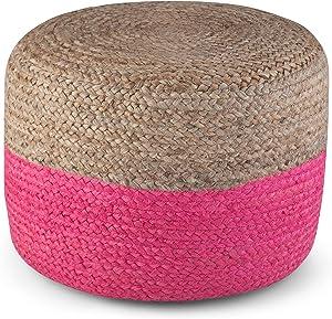 SIMPLIHOME Lydia Round Poufs, Pink, Natural