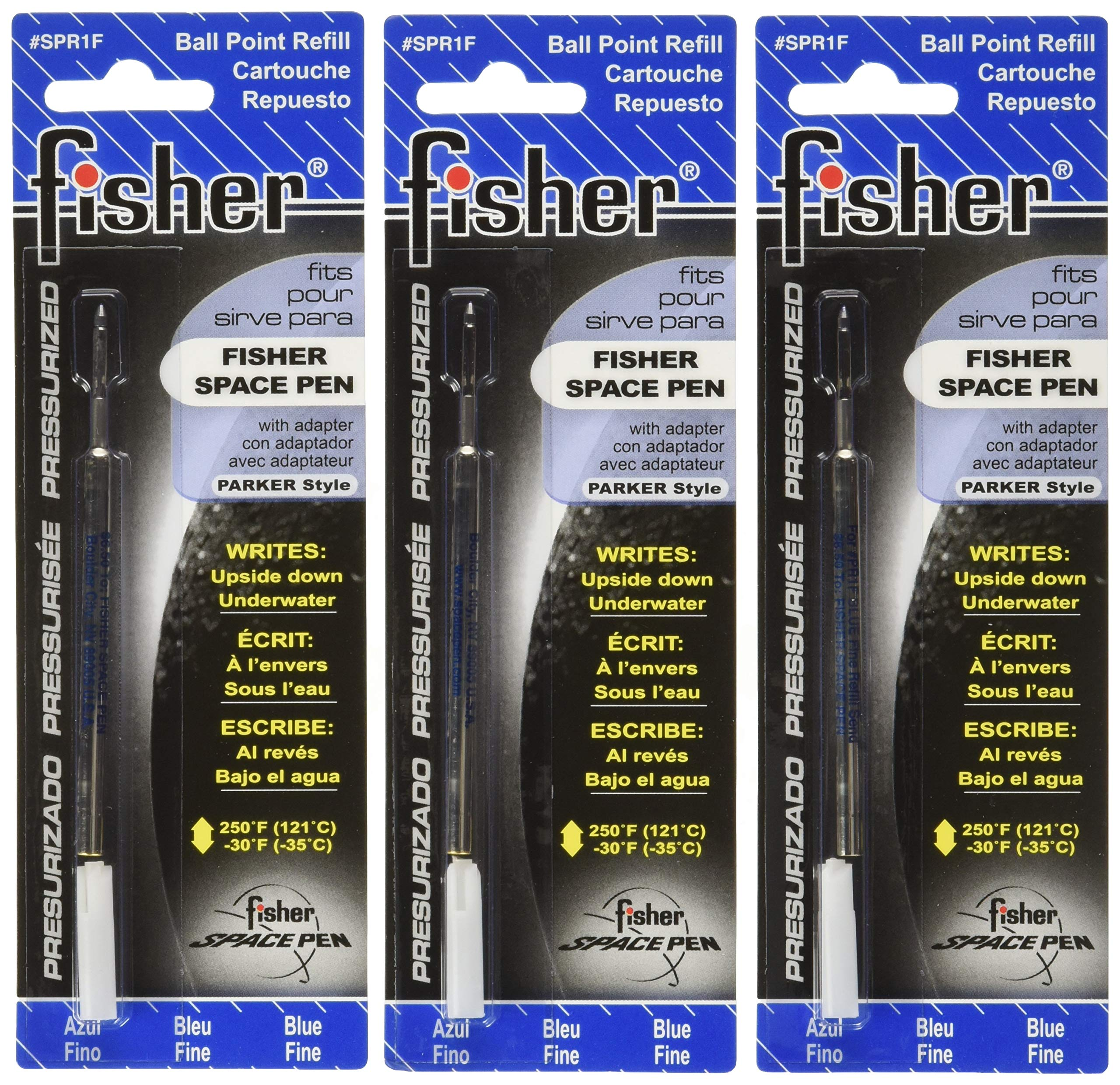 Fisher Space Pen - 3 Pressurized Cartridges Blue Ink Fine Point #SPR1F
