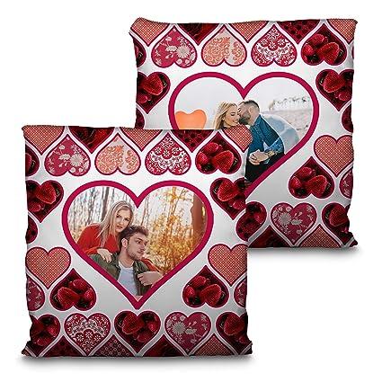 Lolapix Cojín San Valentín. Personalizado con tu Foto. Tamaño 35cm. Varios diseños. Regalo para Enamorados único, Original y Exclusivo. CORAZÓN ...