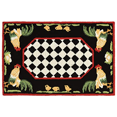 Fantastic Liora Manne Ftp23240848 2408 48 Rooster Rugs Indoor Outdoor 24X36 Black Best Image Libraries Thycampuscom