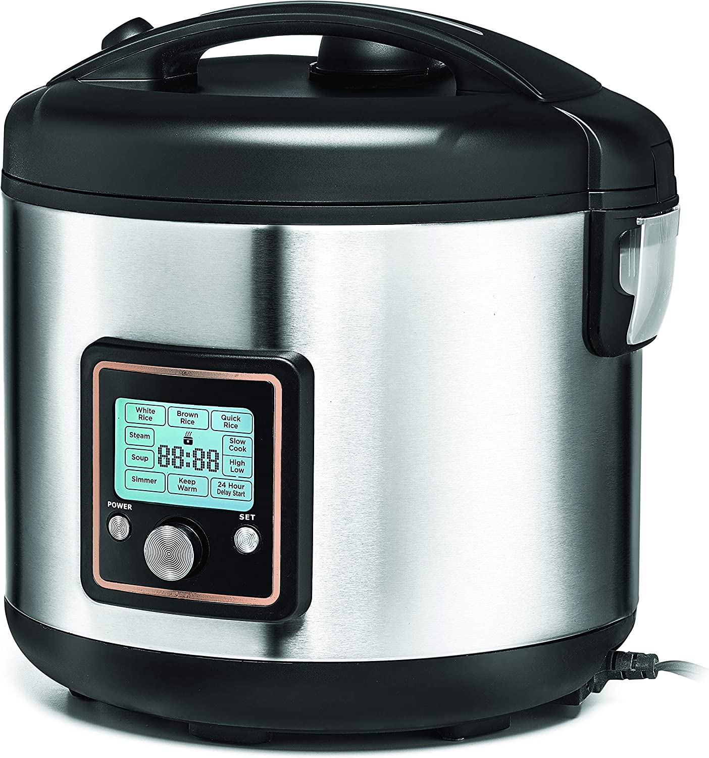 CRUX 20-Cup Fuzzy Logic Digital Rice Cooker with 24-Hour Delay Timer for Slow Cooking & Steaming