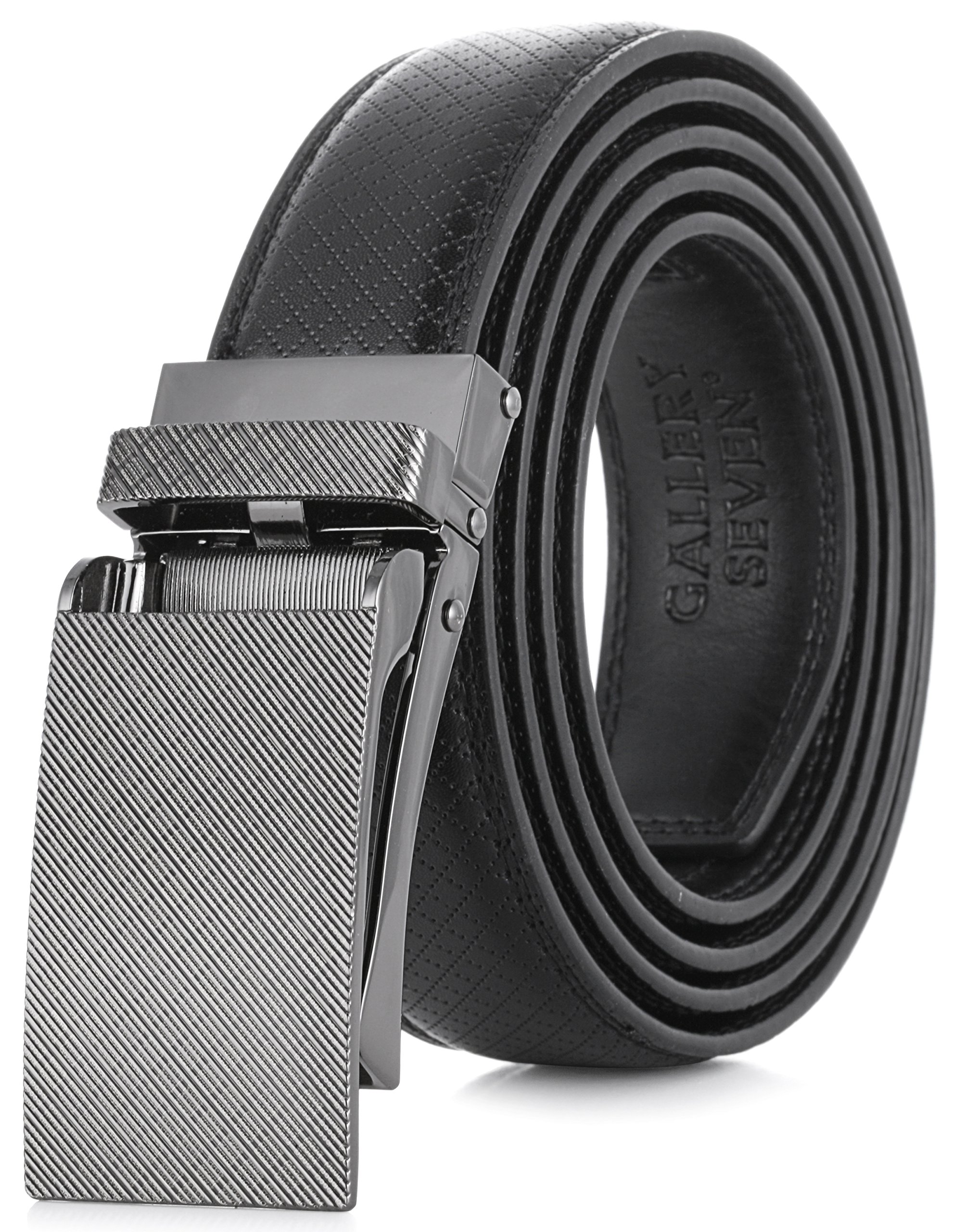 Gallery Seven Leather RatchetBelt For Men - Adjustable Click Belt - Black - Style 11 - Adjustable from 28'' to 44'' Waist by Gallery Seven (Image #1)