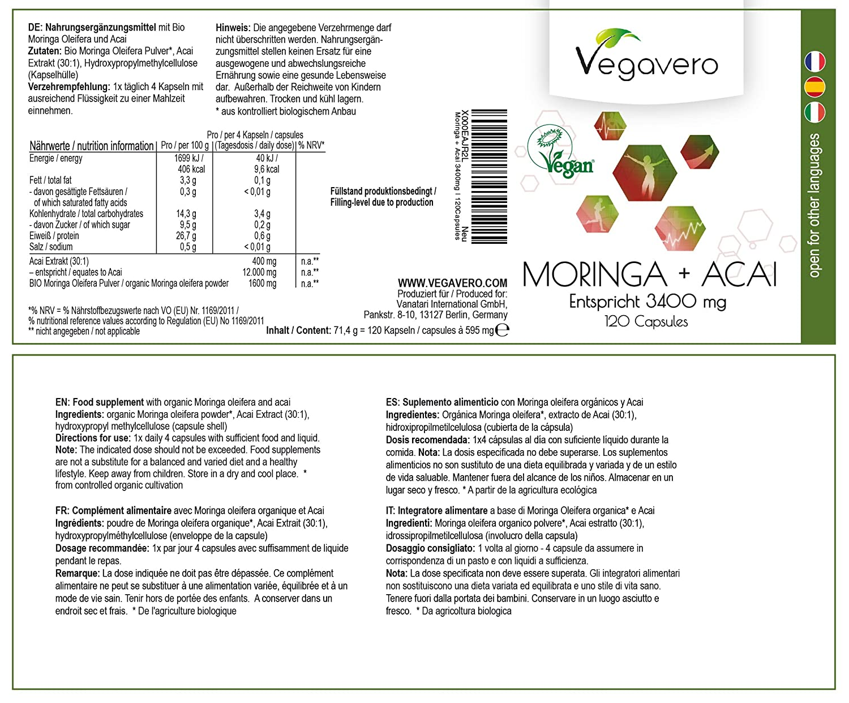 BIO Moringa 1600mg + Extracto de Acai 400mg Vegavero® | OFERTA ÚLTIMAS UNIDADES | Producto Orgánico | Testado en Laboratorio | 120 Cápsulas | Tensión ...