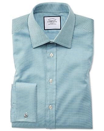 Camisa Verde Azulado de algodón Egipcio y Corte clásico con diseño ...