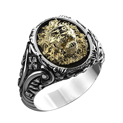 34f67cbff3f Bague chevalière tête de lion bicolore argent et or fabrication à la pièce  atelier bijouterie By